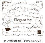 elegant vintage ivy frame set   Shutterstock .eps vector #1491487724