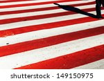 human shadow at red and white... | Shutterstock . vector #149150975