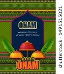 happy onam celebration... | Shutterstock .eps vector #1491515021