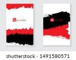 black and red ink brush stroke... | Shutterstock .eps vector #1491580571