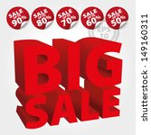 red big sale 3d text with save... | Shutterstock .eps vector #149160311