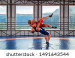 Two men in blue and red wrestling tights are wrestlng and making a suplex wrestling on a  blue wrestling carpet in the gym on the background of mountains. The concept of male wrestling and resistance