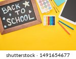 chalkboard in wooden frame with ... | Shutterstock . vector #1491654677