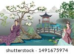 an ancient chinese girl in a... | Shutterstock .eps vector #1491675974