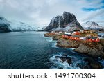 Hamnoy Fishing Village With Red ...