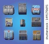 retro pixel game houses  ... | Shutterstock .eps vector #149170691