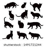 black cat silhouette vector set ... | Shutterstock .eps vector #1491721244