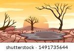 deforestation scene with... | Shutterstock .eps vector #1491735644