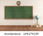 Empty Vintage Classroom With...