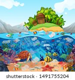 water pollution with plastic... | Shutterstock .eps vector #1491755204