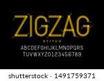 Zigzag Stitch Style Font Design ...