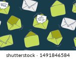 seamless pattern with envelopes ... | Shutterstock .eps vector #1491846584