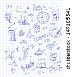 freehand drawing school items | Shutterstock .eps vector #149185541