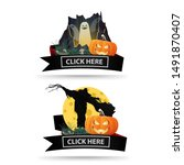 two halloween icons with black... | Shutterstock .eps vector #1491870407