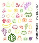 fruit icons collection.children ... | Shutterstock .eps vector #1491870464