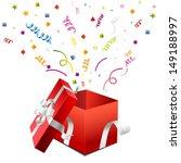 open gift box on a white  | Shutterstock .eps vector #149188997