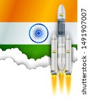 illustration of chandrayaan... | Shutterstock .eps vector #1491907007