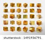set of cube in gold metallic.... | Shutterstock .eps vector #1491936791