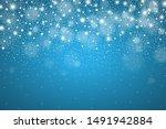 winter glowing blue background...   Shutterstock . vector #1491942884