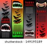halloween teeth banners - stock vector