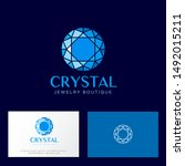 crystal logo. faceted gem blue...