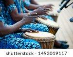 Hands Of African Drummers In...