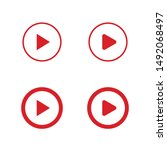 play icon  video media player... | Shutterstock .eps vector #1492068497
