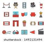 bundle of cinema entertainment... | Shutterstock .eps vector #1492131494