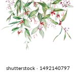 watercolor greenery greeting... | Shutterstock . vector #1492140797