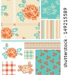 shabby chic rose floral vector... | Shutterstock .eps vector #149215589
