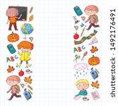 back to school vector pattern....   Shutterstock .eps vector #1492176491