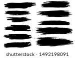 set of black hand made blots... | Shutterstock .eps vector #1492198091