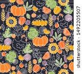 farm living seamless pattern.... | Shutterstock .eps vector #1492205507