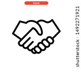 handshake icon isolated sign... | Shutterstock .eps vector #1492271921