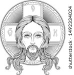 orthodox jesus christ with halo.... | Shutterstock .eps vector #1492334024