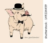 Cute Pig Gentleman In Bowler...