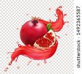 fresh pomegranate fruit in... | Shutterstock .eps vector #1492365587