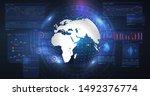 blue futuristic background.... | Shutterstock .eps vector #1492376774