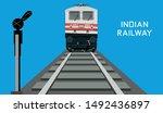 indian railway passenger train  ... | Shutterstock .eps vector #1492436897