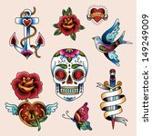 set of traditional color tattoo ... | Shutterstock .eps vector #149249009