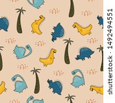 cute dino seamless pattern for... | Shutterstock .eps vector #1492494551