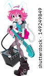 cute cat girl happy play rock... | Shutterstock .eps vector #149249849