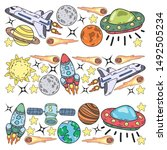hand drawn outer space doodles. ... | Shutterstock .eps vector #1492505234