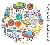 hand drawn outer space doodles. ... | Shutterstock .eps vector #1492505237