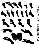 Set Of Silouette Hands . Hand...