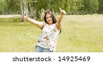 happy woman showing Ok sign - stock photo