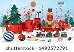 christmas winter wonderland... | Shutterstock .eps vector #1492572791