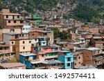 Small photo of Panoramic view of the district Comuna 13 in Medellin, Colombia, known as previous territory of drug cartels and conflicts