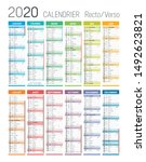 year 2020 colorful calendar  in ... | Shutterstock .eps vector #1492623821