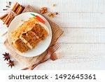 Slice Of Homemade Carrot Cake...